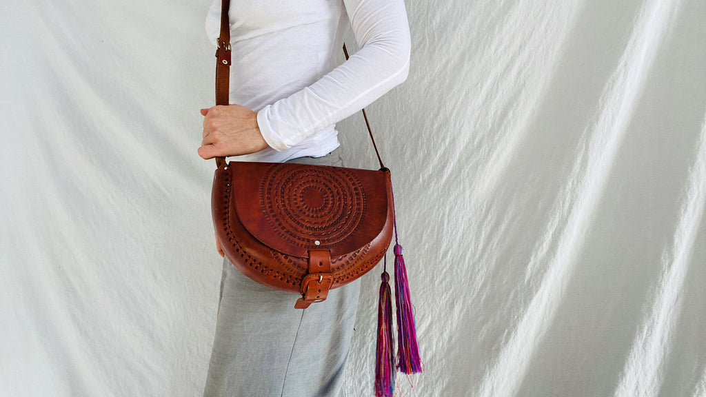 Leather Bag. Adjustable Strap. Zinacantan Tassels