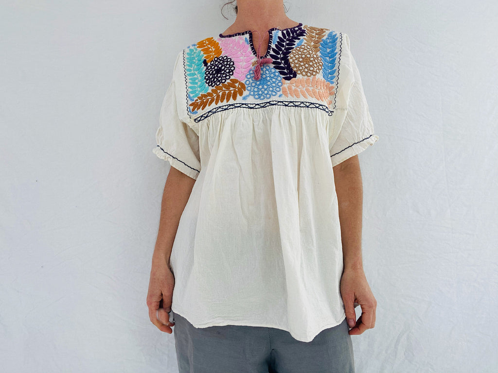 Hand-Embroidered Chamula Blouse. All Cotton.