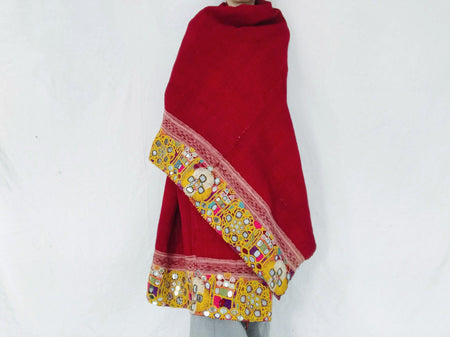 Vintage Banjara Rabari Wool Shawl And Throw. Mirror work and Embroidered