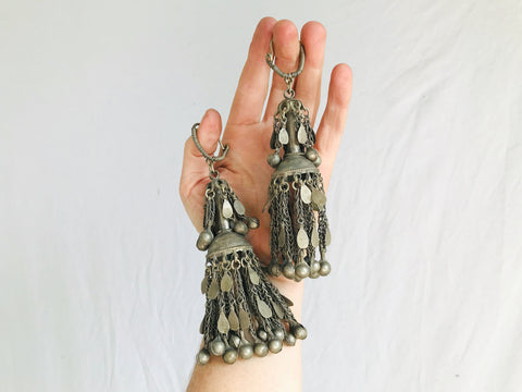 Vintage Kuchi Jumkha Tribal Earrings.