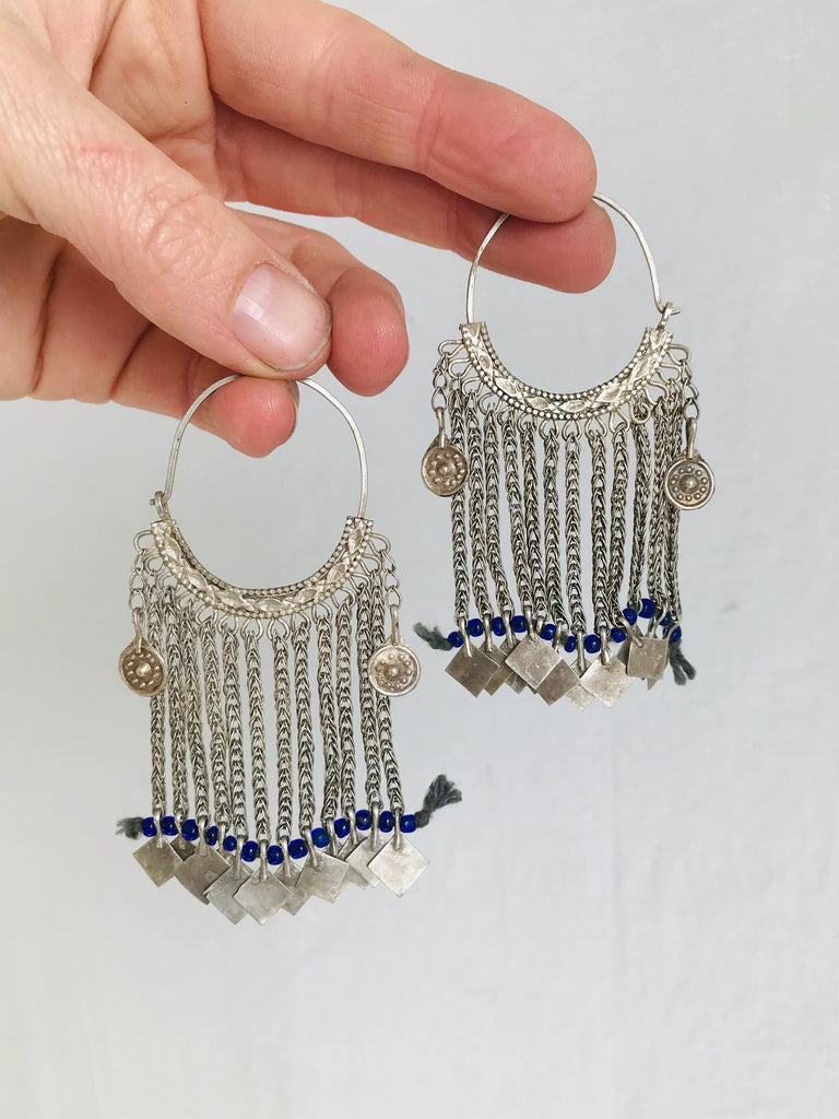 Vintage Uzbek Bukhara Silver Earrings.