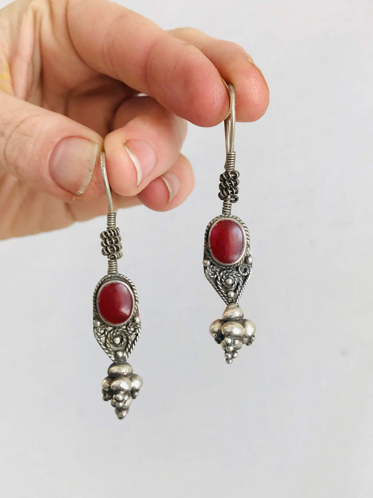 Vintage Uzbek Bukhara Silver & Agate Earrings.