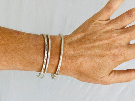 Trio of Three Silver Bangles from the Karen Hill Tribe of Thailand