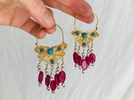 Vintage Uzbek Filigree Earrings. Vermeil. Bukhari. Pearls & Semi-Precious Stones