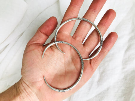 PAIR Sterling Silver Bangle from the Karen Hill Tribe of Thailand