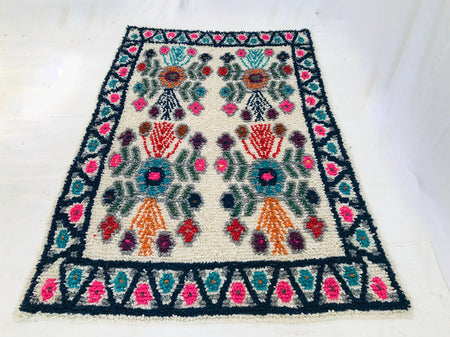 Mayan Wool Rug. Guatemala. Hand-Woven & Dyed. Indigenous Floral Motif.