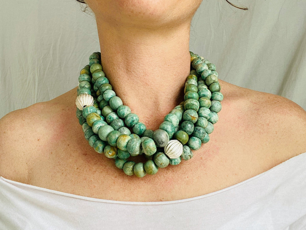 Guatemalita Jade Multistrand Necklace. Sterling Silver.