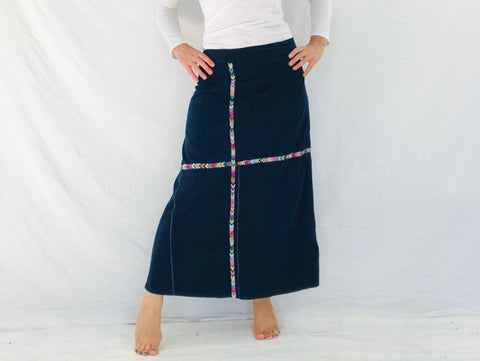 Vintage Indigo Wrap Skirt. Repurposed Guatemalan Corte
