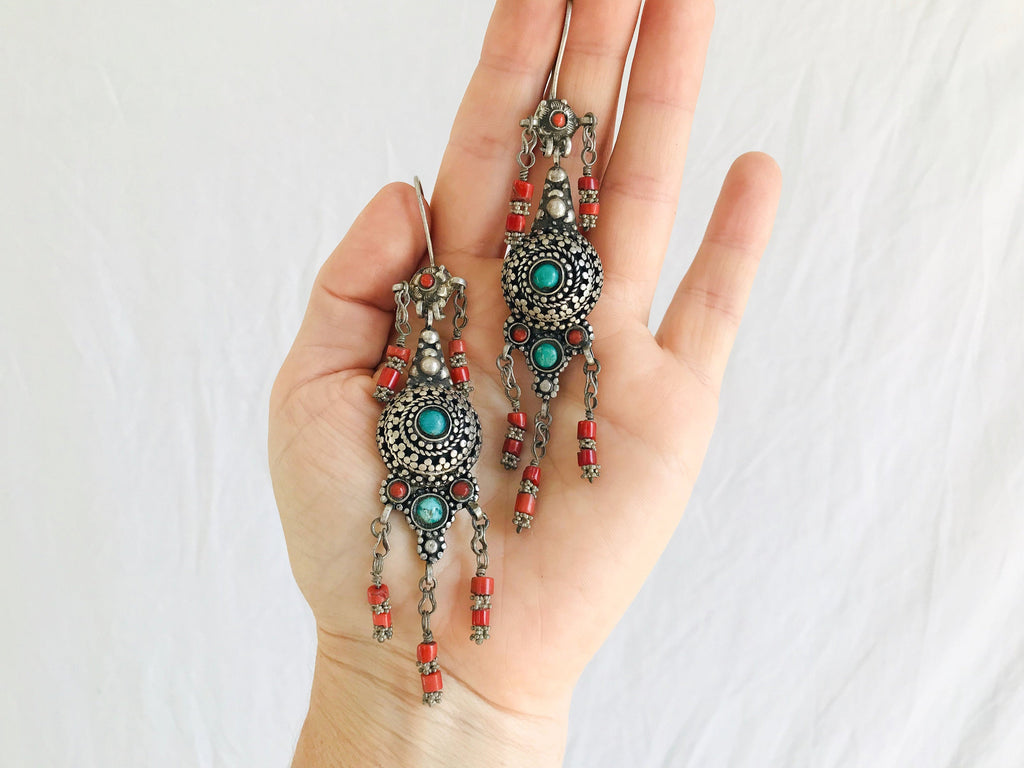 Vintage Turkmen Bukhara Earrings. Silver, Turquoise & Coral.