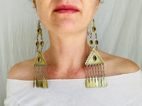 Vintage Turkmen Silver Goldwashed Earrings. Epic Beauties