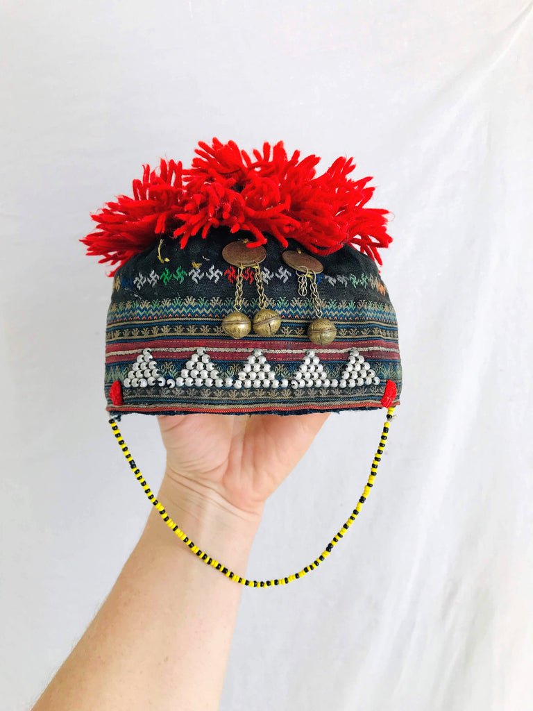 Vintage Red Dao Baby Hat. Indigo. Fabulous Embroidery. Hmong Vietnam