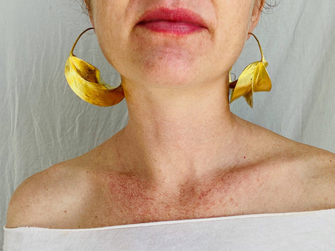 Fulani Gold Earrings. African. Small Hoops