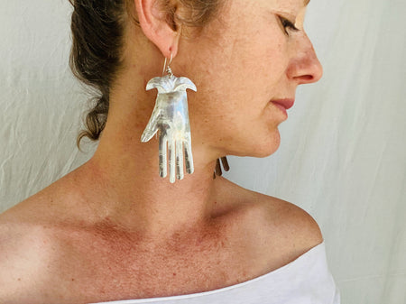 Oaxaca Hand Silver Earrings. La Mano. Mexico. Frida Kahlo