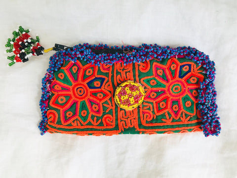 Vintage Kuchi Wallet. Beaded and Embroidered. Glasses Case