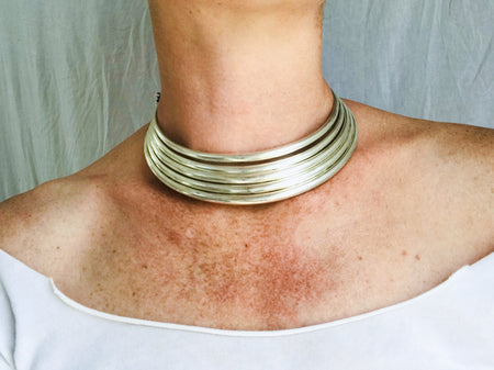 Vintage Miao Hmong Multi-Torc Tribal Choker Necklace. Laos China