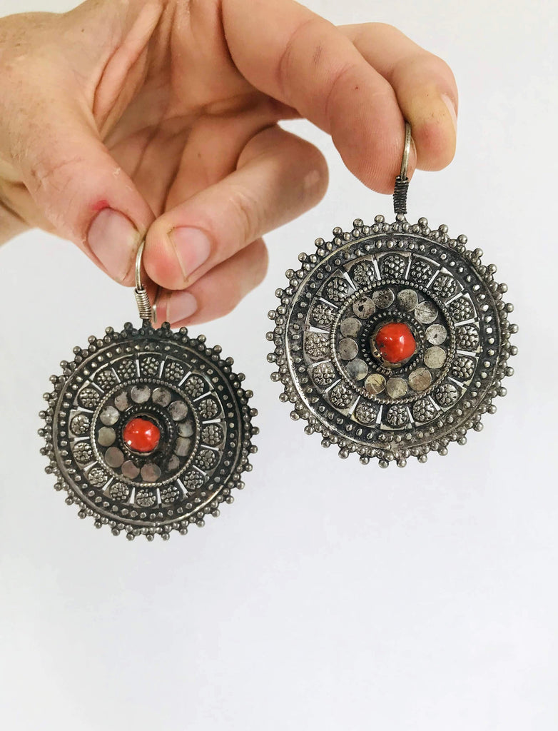 Vintage Uzbek Bukhara Silver and Coral Earrings. Romantic Beauties