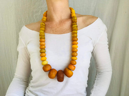Vintage Berber Necklace. Faux Amber. Tiznit, Morocco