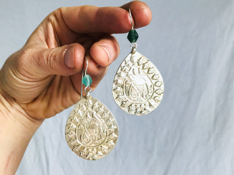 Kuchi Earrings from Old Molds. Silver Plated. Silver Ear Wires.