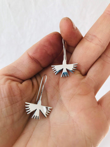 Taxco Silver Earrings. Hummingbirds.