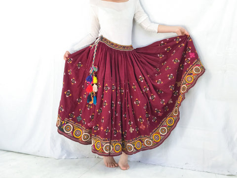 Vintage Rabari Long Embroidered Skirt. Hand Embroidered.