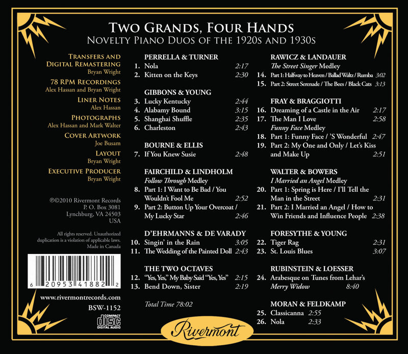 Two Grands, Four Hands: Spectacular and Rare Novelty Piano Duos of the 1920s and 1930s