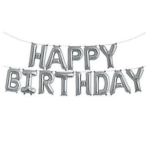 Unique Happy Birthday Balloon Letter Banner Silver
