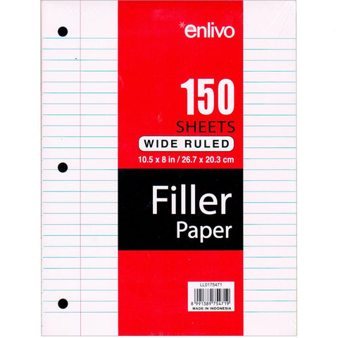 Enlivo Wide Ruled Loose Leaf Paper - 36 Count, 150 Sheets - 3 hole 10.5x 8e