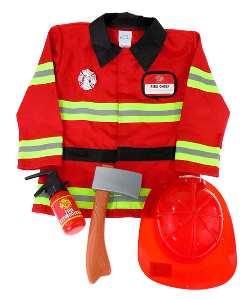 Great Pretenders Firefighter with Accessories in Garment Bag Size 5-6