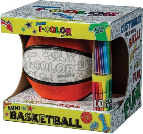Franklin Sports I-Color Mini Basketball  With 10 Marking Pens