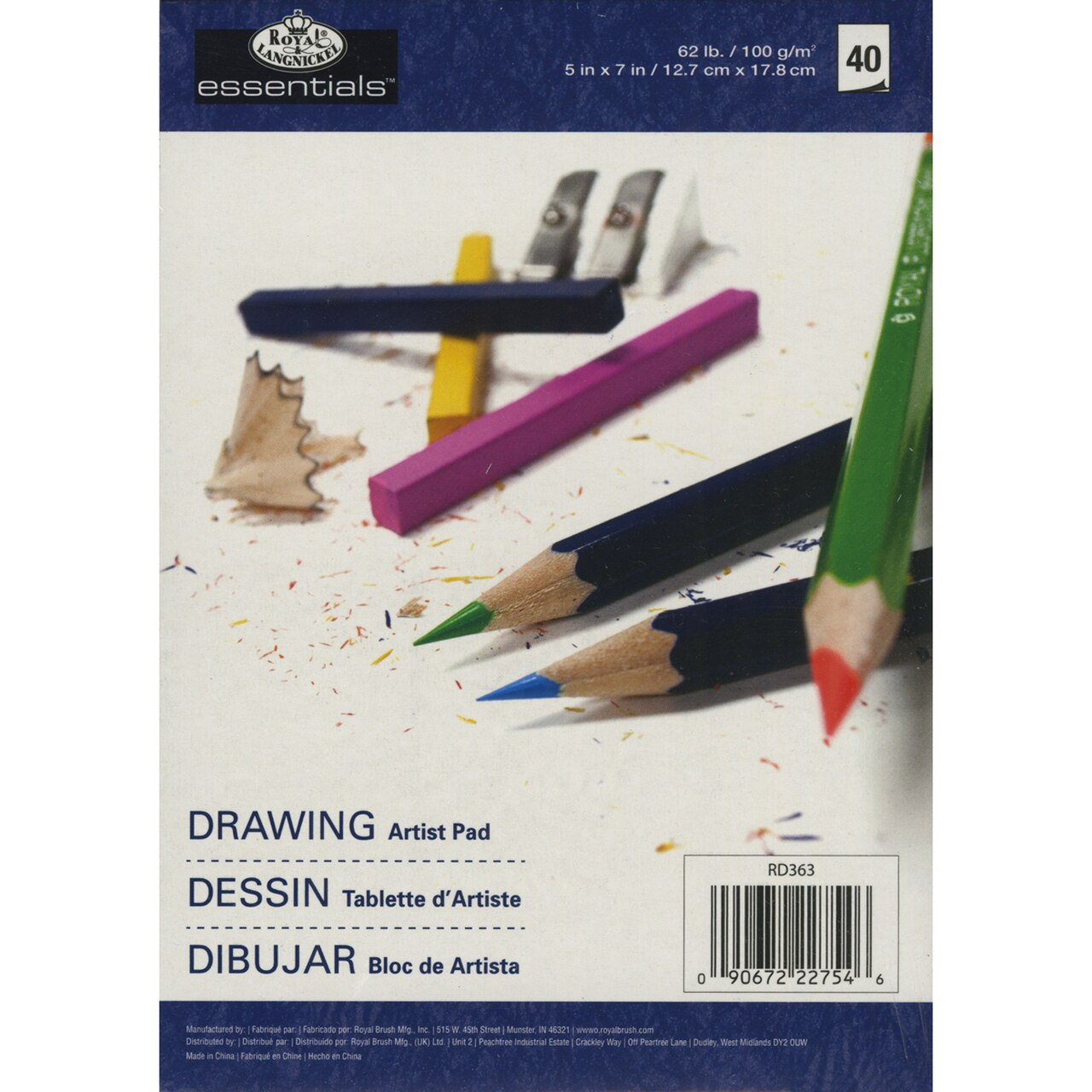 "Essentials Drawing Artist Paper Pad 5""X7""-40 Sheets"
