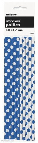 Unique Navy Polka Dot Paper Straws, 10ct