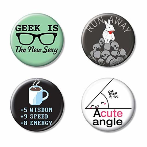 "Ata Boy-SnorgTees Nerd Life Set of 4 1.25"" Collectible Buttons"