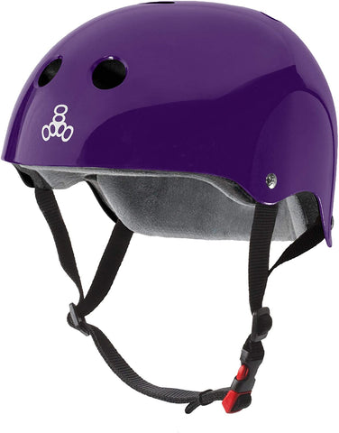 Triple 8 Certified Sweatsaver Helmet- Purple Glossy -  S/M