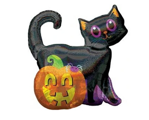 "BLACK CAT/PUMPKIN HOLOGRAPHIC 28"" FOIL BALLOON"