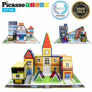 PicassoTiles 150 Pcs 3-in-1 School Hospital Police Station Magnetic Building Set