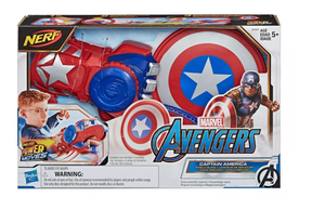 Nerf - Power Moves Marvel Avengers Captain America Shield Sling Disc-Launching Toy