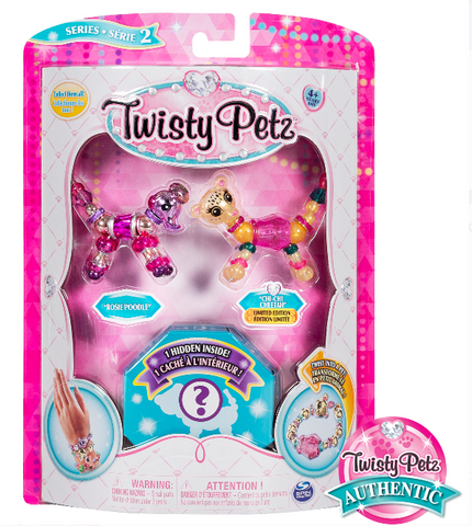 Twisty Petz, Series 2 3 Pack, Rosie Poodle, Chi-Chi Cheetah & Surprise Collectible Bracelet Set For Kids