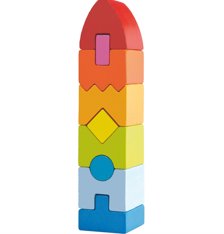 HABA Rainbow Rocket 9 Piece Wooden Stacking Blocks