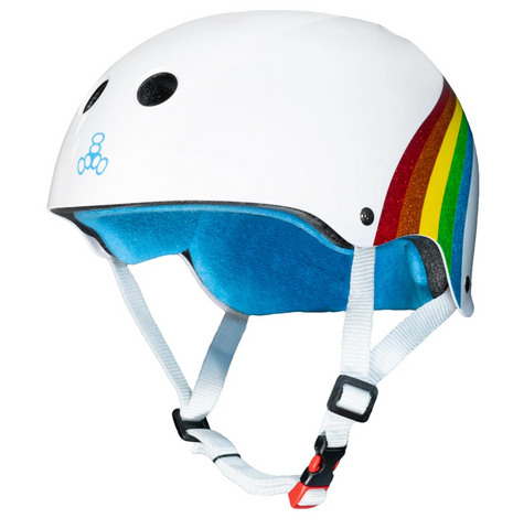 TRIPLE8 CERTIFIED SWEATSAVER HELMET - RAINBOW SPARKLE WHITE S/M