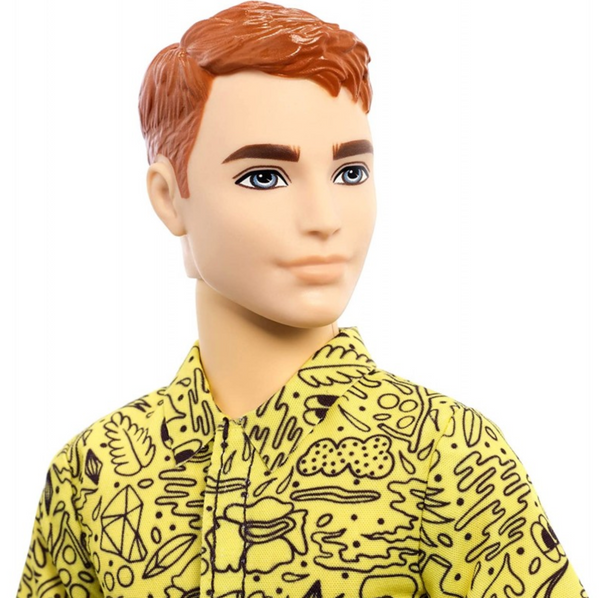 Barbie Ken Fashionistas Doll #139 With Red Hair And Graphic Yellow Shirt