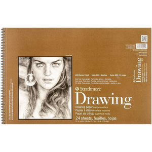 "Strathmore Medium Drawing Spiral Paper Pad 12""X18"" 24 Sheets"