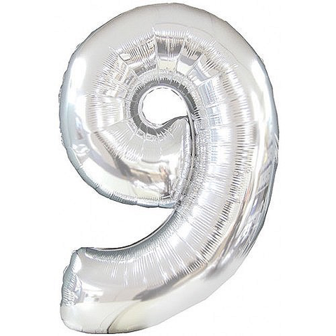 Unique Party 34 Inch Silver Glitz Number Balloon- 9