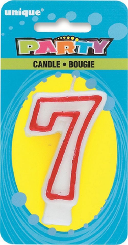 Unique Party Number 7 Candle Red