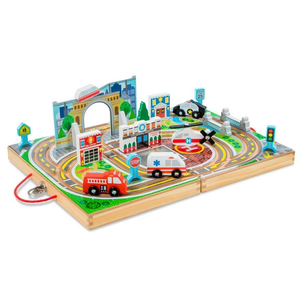 Melissa & Doug 18-Piece Wooden Take-Along Tabletop - Town