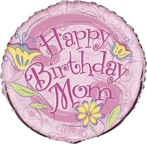 "Unique Happy Birthday Mom 18"" Balloon"