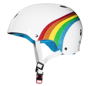 Triple 8 Certified Sweatsaver Helmet- Rainbow sparkle White  XS/S
