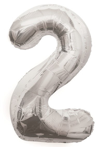 Unique Party 34 Inch Silver Glitz Number Balloon- 2
