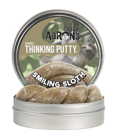 Crazy Aarons Thinking Putty Smiling Sloth Sparkle 4 inch Tin