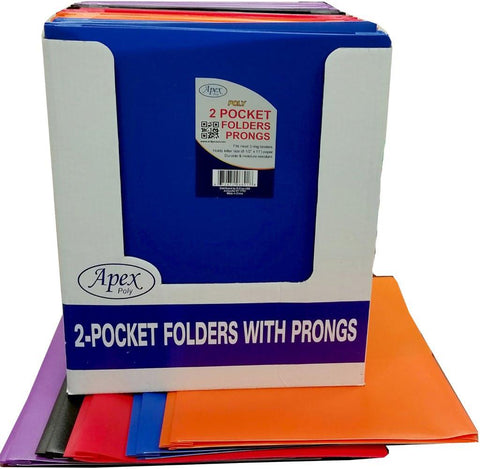 Apex Poly 2 Pocket Folder - 3 Prong - Assorted Colors - One Per Order