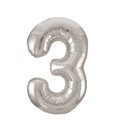 Unique Party 34 Inch Silver Glitz Number Balloon- 3